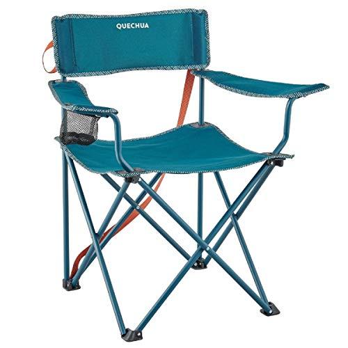 Quechua Campingstuhl Basic Faltbar Blau 110 KG belastbar platzsparend 2,8 kg Gewicht mit Getränkehalter Garten Camping Regiestuhl zu Hause Fest