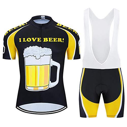 Los hombres de Ciclismo Trajes con 20D Gel Acolchado Babero Pantalones Cortos MTB Ropa Ciclismo Conjunto Conjunto de Ropa de Verano Conjunto para Hombres Cerveza Ciclismo Jerse, verano, Hombre, color negro, tamaño small