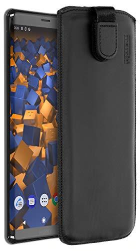 mumbi Echt Ledertasche kompatibel mit Sony Xperia XZ3 Hülle Leder Tasche Hülle Wallet, schwarz