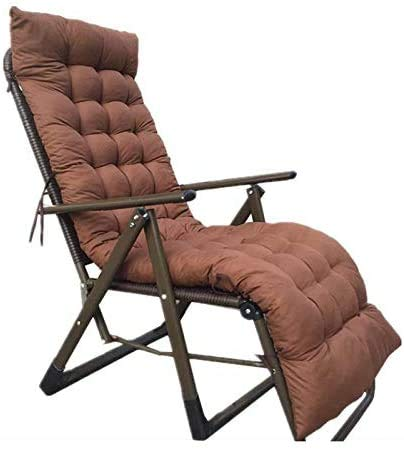 MSTOLL Terraza cojín de Respaldo Alto Cojines de Asiento Funda de Silla de jardín, 100% algodón Perla Antideslizante sillón cojín de Mecedora cojín de Asiento de Tumbona no S-155x45cm marrón