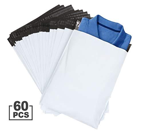 ilauke 60 Stück Versandtaschen, Kunststoff, Briefbeutel, Briefumschläge, Farbe Weiß, 30 x 40 cm + 5 cm Klappdeckel
