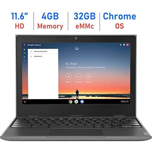 Lenovo 100e 11.6-inch HD Anti-Glare Display Chromebook Laptop, Quad-core MediaTek MT8173C Up to 2.1GHz, 4GB RAM, 32GB eMMC, PowerVR GX6250, Webcam, Bluetooth, Google Chrome OS, 64GB Micro SD Card
