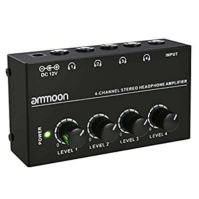ammoon 4 Channels Mini Audio Stereo Headphone Amplifier HA400 Ultra-compact with Power Adapter from ammoon