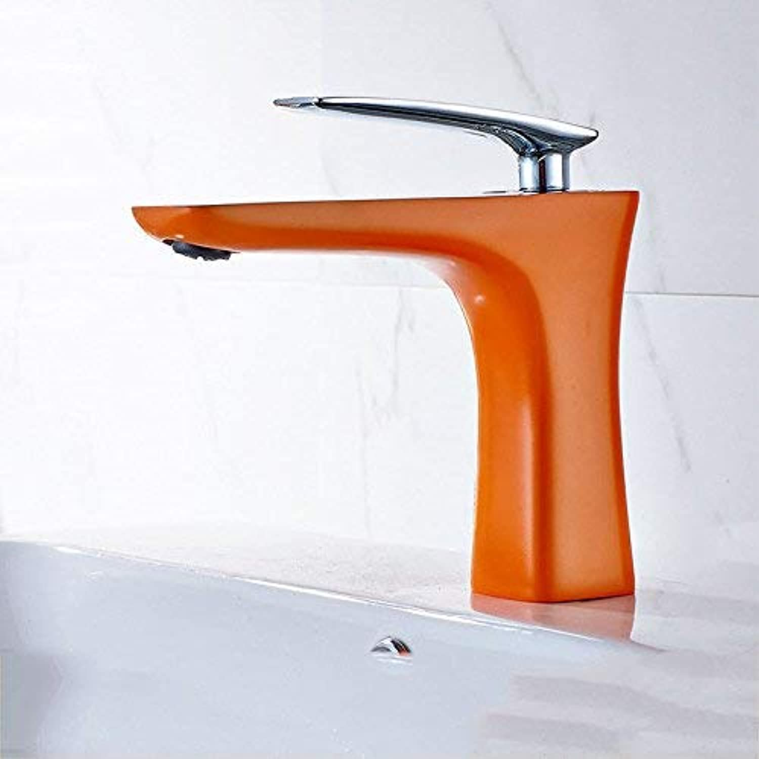 Ywqwdae Taps Kitchen Taps Basin Faucets Cold and Hot Water Mixer Bathroom Mixer Basin Mixer Tap Modern Paint Single Handle Single Hole Copper Green for Kitchen Or Bathroom Taps (color   orange)