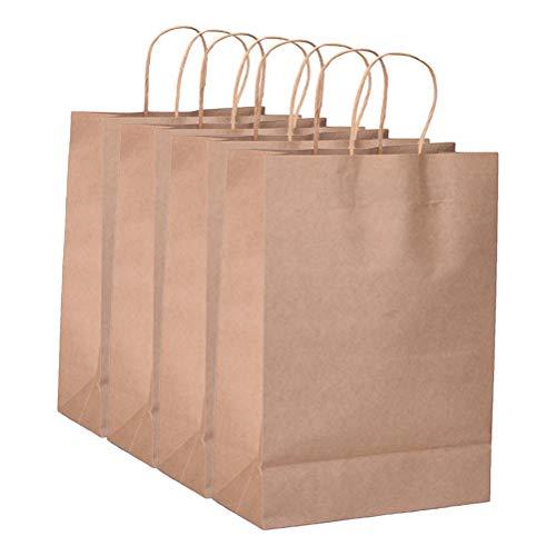 STOBOK 50Pcs Bolsas de Papel Kraft con asa, Bolsas de Envoltura de Compras, Paquete de Regalo, Bolso para Fiesta de cumpleaños, Boda, Navidad (Caqui)