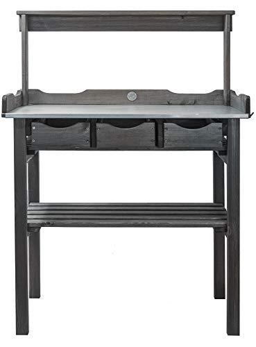 mgc24® Pflanztisch mit verzinkter Arbeitsplatte - 78x38x112cm aus Kiefernholz Anthrazit/Grau, mit Abstellboden / 3 Schubladen / 3 Haken und Oberleiste - für Garten Balkon Terrasse