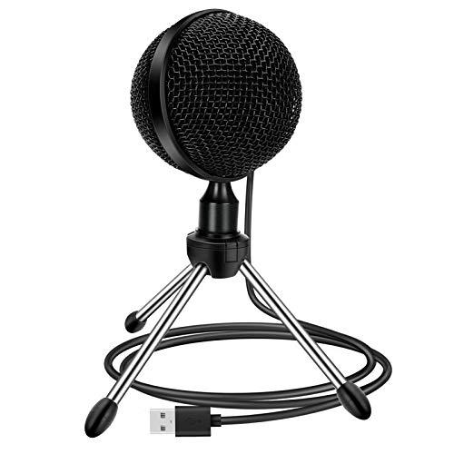 Bestcool USB Computer Kondensatormikrofon, Plug & Play Desktop-Mikrofon Mini-Tischmikrofon mit Omnidirektionalem Stativmikrofon für Computer, PC, MAC-Desktop-Gaming-Mikrofon für Podcasts, Vlog