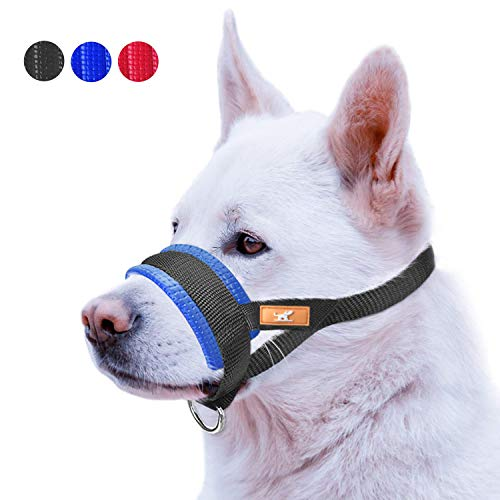 Basic Dog Muzzle Prevent from Taking Off by Dogs for Small,Medium and Large Breed,Stop Puppy Biting and Chewing (S,Blue)