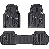 Amazon Basics 3-Piece Full Coverage Odorless Rubber Floor Mat for Cars, SUVs and Trucks (Black)