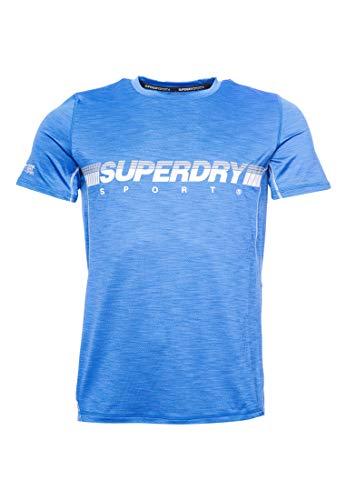 Superdry Herren Leichtes Training T-Shirt 70Er Jahre Blau Meliert S