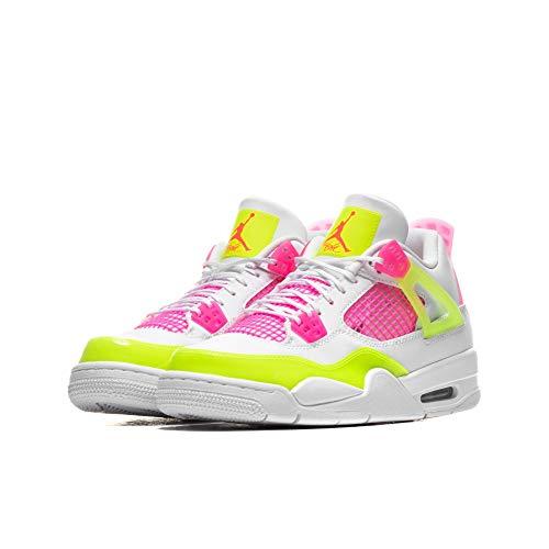 Nike Air Jordan 4 Retro SE (GS), Zapatillas de básquetbol para Niños, White White Lemon Venom Pink Blast Hyper Crimson White, 36.5 EU