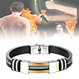 ddxx Striped Magnetic Masculinity Leather .Bracelet,Men's Stainless Steel Leather Bracelet Silver Magnetic Clasp Bangle,Personalized Mens Cool Bracelets Leather and Steel Magnetic Bracelet (Gold)