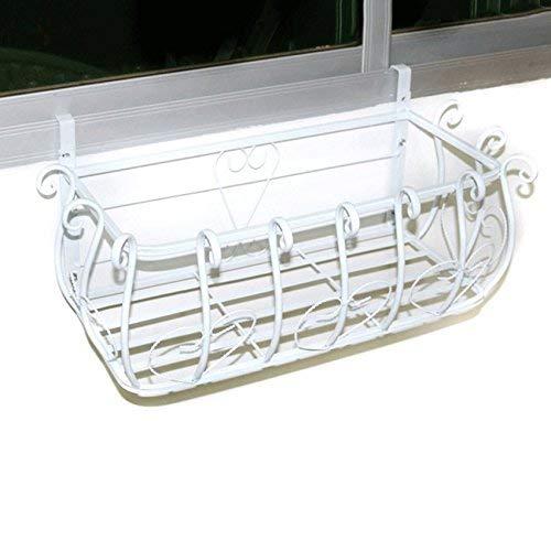 WYJW Europese stijl ijzeren kunst bloem houder opknoping vensterbank opknoping bloempotten beugel voor balkon muur stand voor antirost planten (kleur: zwart, grootte: 100 * 28 * 22cm)