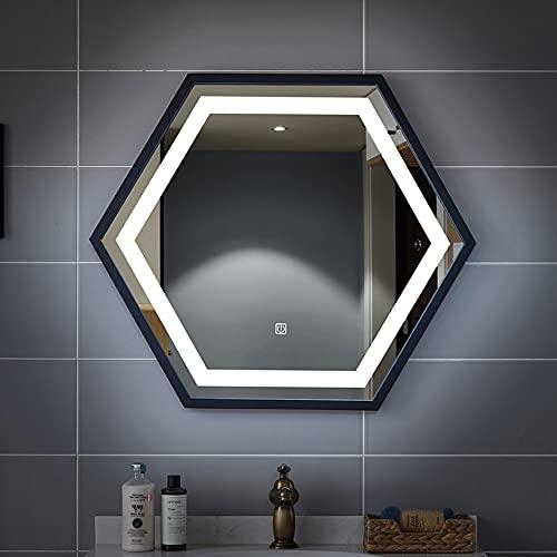 Luz Blanca/luz cálida Marco Hexagonal de Acero Inoxidable 70 * 80 CM Espejo emisor de luz Baño Iluminación LED Inteligente Espejo Voltaje de Seguridad: 12V Potencia 3.6W / m