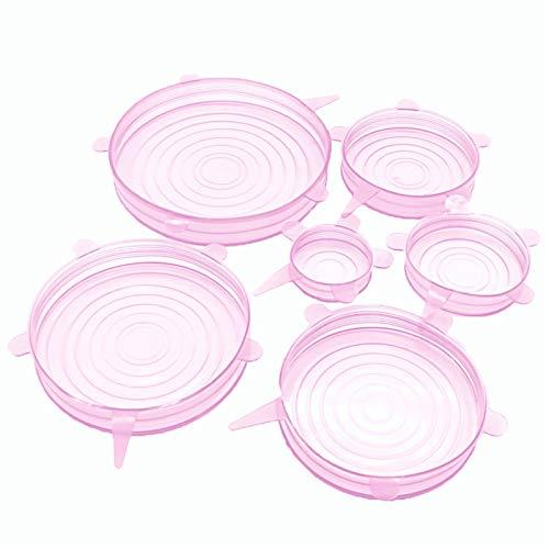 Couvercles extensibles en silicone réutilisables, 6 pcs Silicone Couvercles d'étirement des aliments Garnier Couvercle de cuisson de cuisson de cuisson de cuisson réutilisable Accessoires de cuisine r