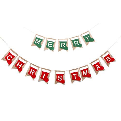 Amosfun 2 Sets Vrolijk Kerstmis Banner Jute jute jute Banners Thuis Open haard Mantel Garland Bunting Decoratie Vakantie benodigdheden