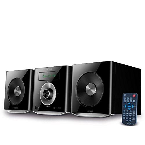 AISER HSR 114 | 20 Watt RMS avec - Lecteur CD - Bluetooth - USB - Boîtiers - Radio FM | Système stéréo Système hi-fi compact...
