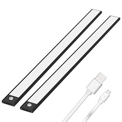 Klighten 2 Pcs Luz Armario 113 LED, 60CM, USB Recargable Luces LED Armario con Sensor Movimiento, 3 Modos Lámpara de Armario con Tira Magnética, Luz Nocturna para Cocina Pasillo, Blanco cálido, Negro