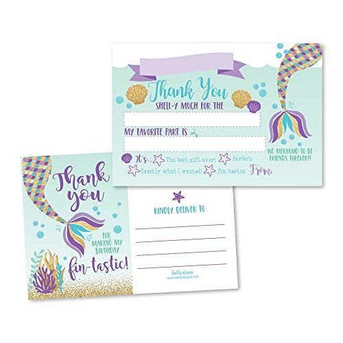 25 Mermaid Glitter Under the Sea Fill In The Blank Kids Thank You Cards, Girls Magical Pool Themed Bday Party Notes, Adult or Children Birthday, Aqua Beach Ocean Supplies Summer Ideas