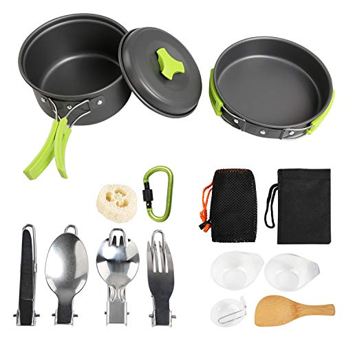 Ballery Camping Cookware Kit, 15 in 1 Outdoor Cooking Set Cooking Equipment Utensils for 1 to 2 People Camping Backpacking Hiking Picnic Outdoor - Lightweight, Compact, Durable