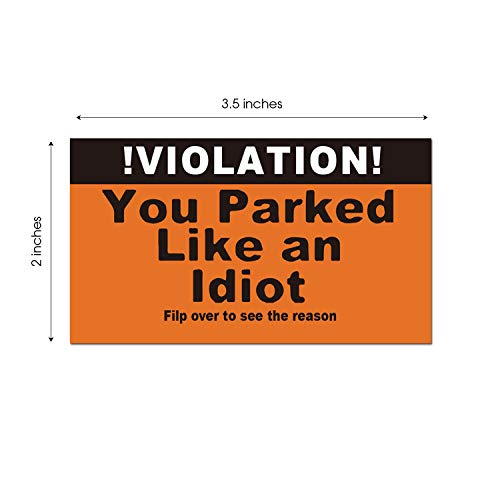 You Parked Like an Idiot Business Cards - Bad Parking Cards - Tick The Boxes on The Back to List Their Sins & Get Justice! Hilarious Prank, Gag Gift, Stocking Stuffer(100 Cards) Photo #3