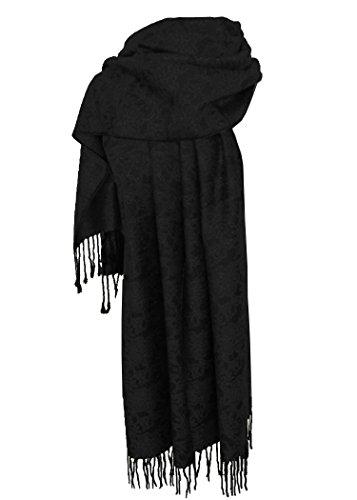 Nella-Mode Edler & Eleganter Schal, Stola; - Florales Muster; - Farbe: Schwarz