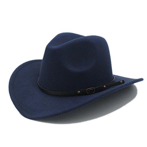 U/D Hüte Männer Western Cowboy Hut for Gentleman Cowgirl Jazz Church Cap Mit Leder Toca Sombrero Cap Resistol Cowboy Hüte Lhzus (Color : 4, Size : 57-58CM)
