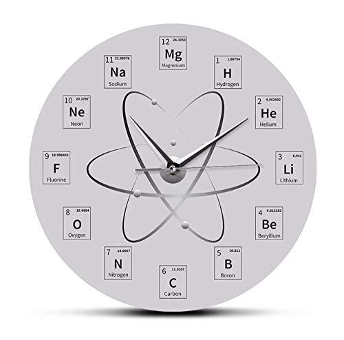 DFERT Wanduhr Chem Zeit Periodensystem Wanduhr Molekulare Biochemie Kunst Wanduhr Uhr Atomic Hanging Timepieces Chemielehrer Geschenk-Kein Rahmen