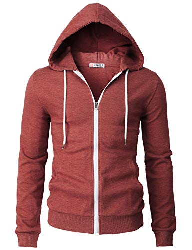 H2H Mens Casual Basic Long Sleeve Zip Up Hoodie Jacket Maroon US M/Asia L (CMOHOL048)