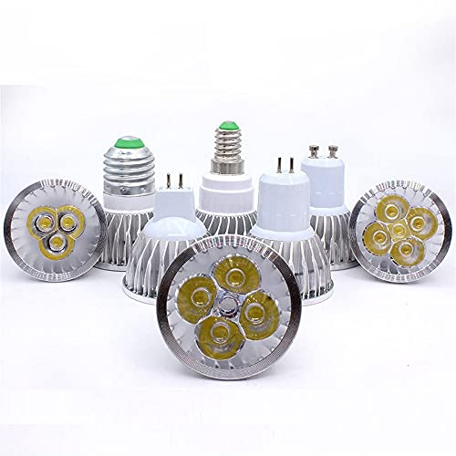 GHC LED Bombillas 1pack LED Lámpara Downlight High Power GU10 LED Bombilla 9W 12W 15W 220V E27 E14 MR16V LED Potencia Caliente/Blanco (Color : Blanco, Talla : MR16 12V 12W HP)