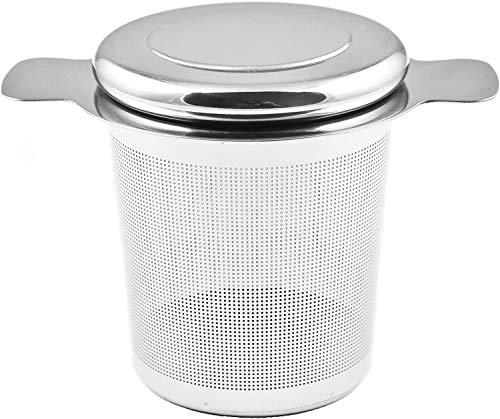 ZWOOS Teesieb, 304 Edelstahl Teefilter mit Deckel für Losen Tee, Passend für Teekannen, Tee-Tassen