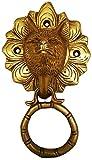 Purpledip Brass Door Knocker: Antique Wild Wolf Design Gate Handle (11596)