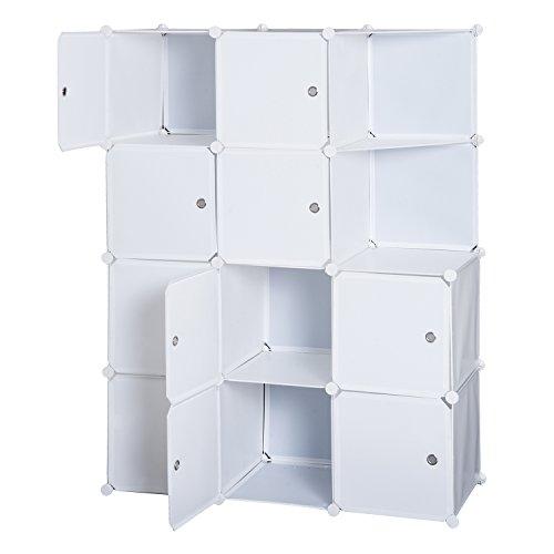 homcom Armadio Armadietto Guardaroba Scaffale 10 Cubi Mobiletto Modulare 111 × 47 × 145cm Bianco