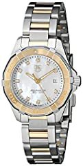 Two-tone watch featuring mother-of-pearl dial with diamond markers, luminous hands, and date window at three o'clock position 27 mm two-tone stainless steel case with anti-reflective sapphire dial window Quartz movement with analog display Two-tone s...