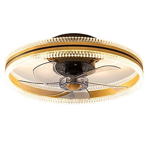 wanhe Lámpara De Techo LED Moderna, Kit De Luz De Ventilador Techo Montaje Empotrado 19.7'Aspa De Ventilador Acrílico Oculta Redonda con Luz Ventilador Techo Cristal Remota,Oro