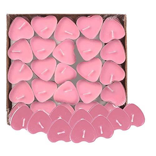 Txyk 50 Candele Amore Galleggiante Senza Fumo Candele Romantico Moderno Rosa Forma di Cuore