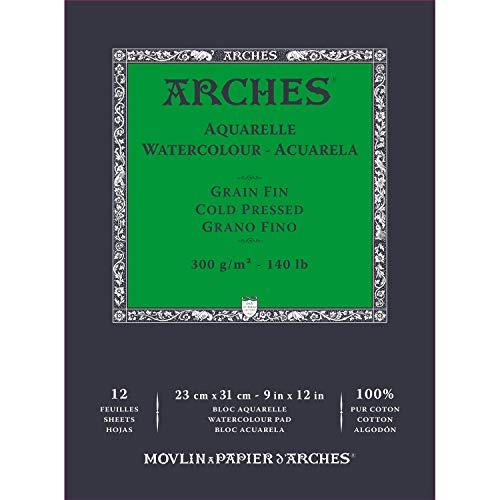 Bloc Enc 23x31 12H Arches Aquarelle 100% Fino 300g Blanc Nat