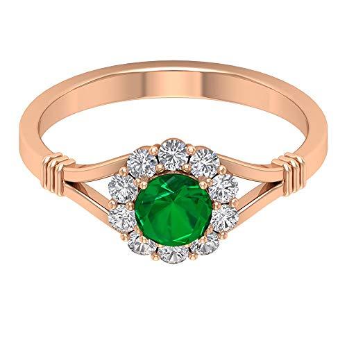 Rosec Jewels 10 quilates oro rosa redonda round-brilliant-shape H-I Green Diamond Esmeralda creada en laboratorio.