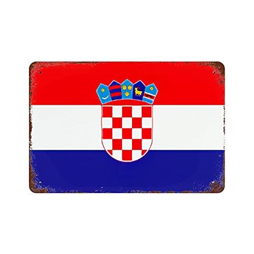 Gearsly Die Republik Kroatien Flagge Vintage Nationalflagge Retro Blechschild Länderflaggen Wandkunst Patriotisches Wandbild Bar Cafe Decor Man Cave