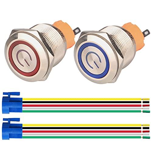 GUUZI 2pcs Interruptor de Botón Pulsador Autobloqueo 1NO1NC Acero Inoxidable Impermeable 220V-230V Interruptor LED Iluminado con Enchufe de Cable Adecuado para Orificio de Montaje de 22mm(Azul+Rojo)