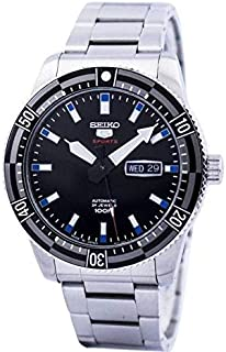SRP733J - Seiko 5 Sports Automatic, 24 Jewels, calendar, 100m Water Resistant, Black Dial, Stainless Steel, Silver