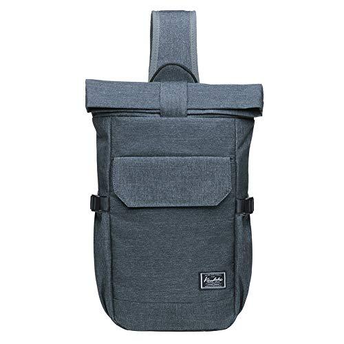 KAUKKO Canvas Messenger Bag Cross Body Shoulder Sling Backpack Travel Hiking Chest Bag (F11DARKGREY)