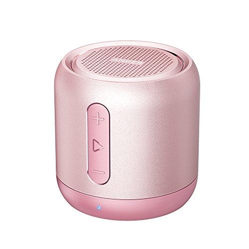 Anker SoundCore mini Bluetooth Lautsprecher, Kompakter Lautsprecher mit 15 Stunden Spielzeit, Fantastischer Sound, 20 Meter Bluetooth Reichweite, FM Radio und intensiver Bass (Rosa)