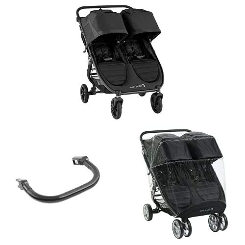 Baby Jogger City Mini GT2 Double All-Terrain Pushchair | with 2X Belly Bar & Weather Shield Rain...