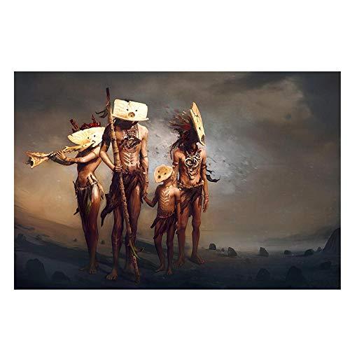 YB Native Indian Famliy met masker Fantasy Portrait canvas kunst poster en afdrukken muurschildering voor de woonkamer - 50x70cm No Frame