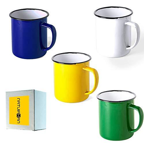 Natuiahan 4 Tazas de Metal Esmaltado. Set de 4 Tazas de Diseño Vintage. Acabado con Imperfecciones. Azul, Amarillo, Blanco y Verde