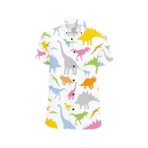 InterestPrint Men Shirts Summer Short Sleeve Dinosaur Pattern Shirts Regular Fit Casual Button Down Shirts L