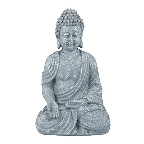 Relaxdays, Gris Claro, Estatua Buda Sentado para Jardín o Salón, Resina Sintética, 30 cm