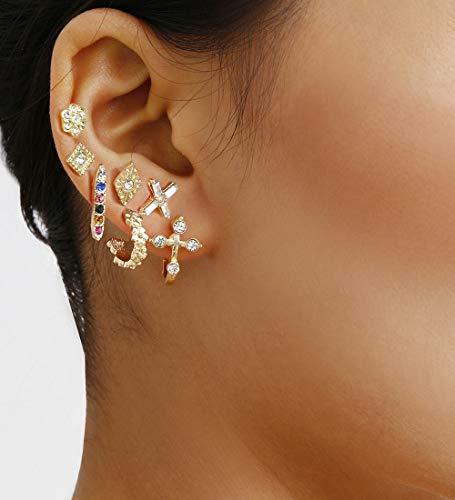 Chargances 12pcs Earrings for Women and Girls Crystal Stud Rhinestones Hoop Earrings Jewelry Set