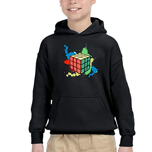 Xqsfl931 Rubik Cube Children's Hooded Pocket Sweatshirt,2-6 Years Old Children,Boys and Girls Are All Wearable